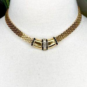 Jewelry - Gold Tone Clear Rhinestone Collar Necklace